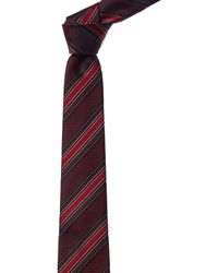 Canali Red Stripe Silk Tie