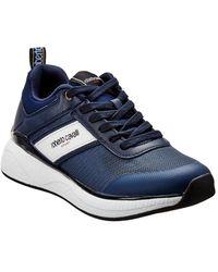 Roberto Cavalli Robert Cavalli Sport Leather-trim Trainer - Blue