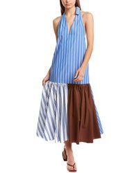 Tibi Vivian Stripe Deep Halter Midi Dress - Blue