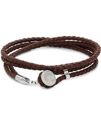 Tateossian - Silver And Leather Double Wrap Bracelet - Lyst