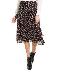 Joie Langlee Silk Midi Skirt - Blue
