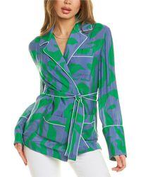 Off-White c/o Virgil Abloh Off-white? Leaf Print Silk-blend Pajama Top - Blue