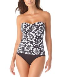 Anne Cole Liz Twist Tassel Lace-up Tankini - Black