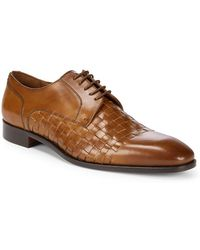 Massimo Matteo Woven Leather Blucher Dress Shoes - Brown