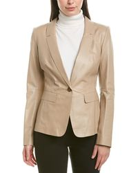 Lafayette 148 New York Leather Jacket - Natural