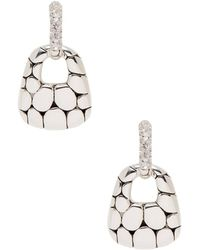 John Hardy - Kali Silver & White Topaz Lava Door Knocker Earrings - Lyst