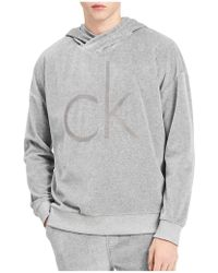 CALVIN KLEIN 205W39NYC Heathered Cotton Crossover Hoodie - Gray