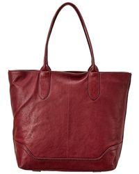 Frye Madison Zipper Leather Tote - Red