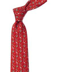 Ferragamo Red Giraffes Silk Tie