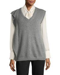 Prada - V-neck Knitted Vest - Women - Cashmere/wool - 46 - Gray