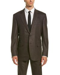 Canali Wool-blend Suit With Flat Front Pant - Brown