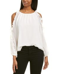 1.STATE Cold-shoulder Ruffle Top - White