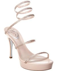 Rene Caovilla Cleo Plato 100 Satin Sandal - Pink