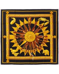 "Hermès ""cuillers D'afrique,"" By Caty Latham Silk Scarf - Black"