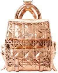 Dior Crinkled Metallic Leather Backpack - Pink