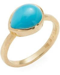 Anzie - Classique 18k Yellow Gold & Turquoise Bezel Ring - Lyst