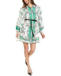 Alice + Olivia Oralia Silk-blend Shirtdress - Green