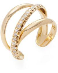 Janis Savitt | 18k Yellow Gold & 0.40 Total Ct. Diamond Crossover Cuff Ring | Lyst