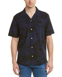 Vince Palm Leaf Cabana Buttondown Shirt - Blue