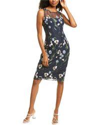 Adrianna Papell Pastel Paradise Sheath Dress - Blue
