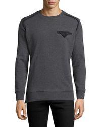 Diesel Black Gold Solid Cotton Crewneck Sweatshirt - Gray