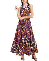 La DoubleJ Big Floral Maxi Dress - Purple