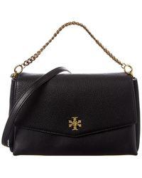 Tory Burch Kira Leather & Suede Shoulder Bag - Black