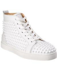 Christian Louboutin - Louis Spiked Leather Sneakrs - Lyst