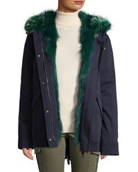 Yves Salomon Army By Solid Cotton Coat - Blue