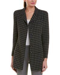 Chanel Blue & Tan Plaid Wool-blend Long Jacket, Size 42
