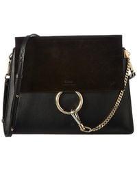 Chloé Faye Leather And Suede Shoulder Bag - Black