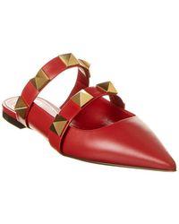 Valentino Valentino Garavani Roman Stud Leather Flat - Red