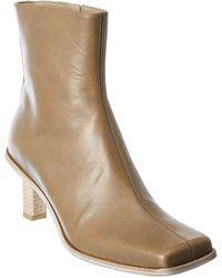 Jacquemus Carro Leather Bootie - Natural