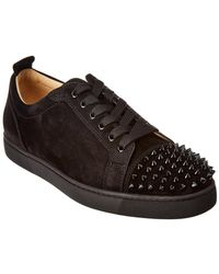 Christian Louboutin Louis Junior Studded Suede Trainers - Black