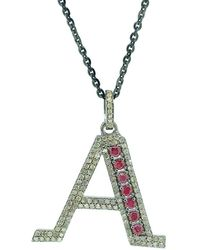 Arthur Marder Fine Jewelry Silver 1.10 Ct. Tw. Diamond & Ruby Initial Necklace - Metallic
