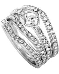 Swarovski Crystal Rhodium Set Of Rings - Metallic