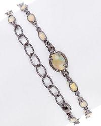 Adornia - Fine Jewellery Rhodium Plated Silver 1.20 Ct. Tw. Diamond & Opal Bracelet - Lyst