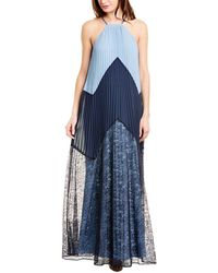 BCBGMAXAZRIA Colorblocked Maxi Dress - Blue