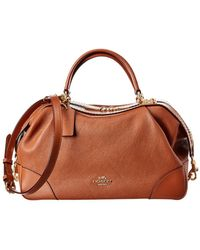 COACH Lane Leather Satchel - Brown