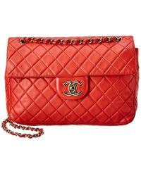 Chanel Red Quilted Lambskin Leather Maxi Flap Bag