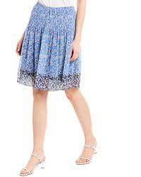 Max Studio Printed A-line Skirt - Blue