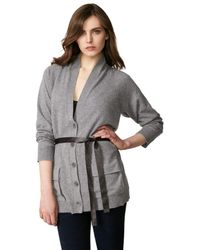 INHABIT Cashmere Long Belted Cardigan - Gray