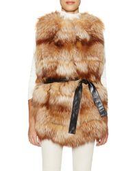Tasha Tarno - Belted Fox Fur Vest - Lyst