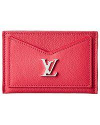 Louis Vuitton Pink Leather Lockme Wallet