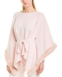 Max & Moi Wool & Cashmere-blend Poncho - Pink