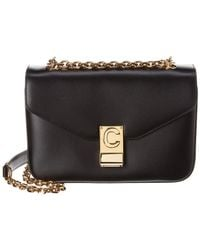 Céline Medium C Leather Shoulder Bag - Black