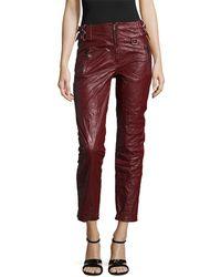 Isabel Marant Bonnya Leather Cropped Pant - Red
