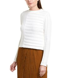 Vince Mixed Rib Sweater - White