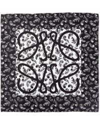 Loewe Anagram Feather Print Silk Scarf - Black