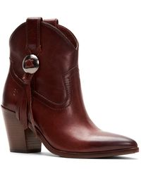Frye Faye Concho Short Leather Boot - Brown